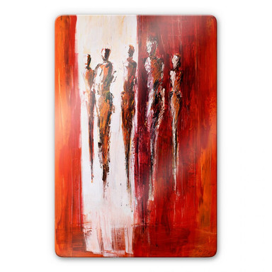 Glasbild Schüssler - Fünf Figuren in Rot