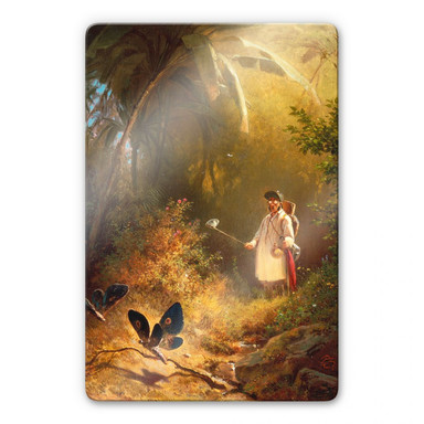 Glasbild Spitzweg - Der Schmetterlingsfänger