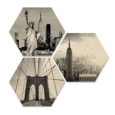 Hexagon - Holz Birke-Furnier - Impression of New York City (3er Set)