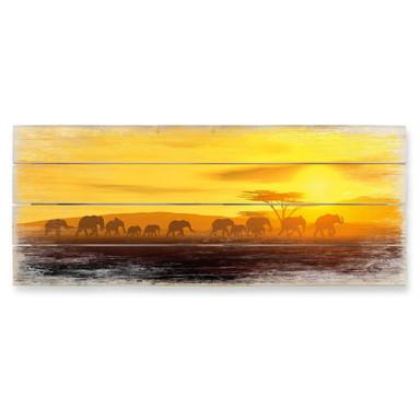 Holzbild Die Wanderung - Panorama - 100x40cm - Bild 1