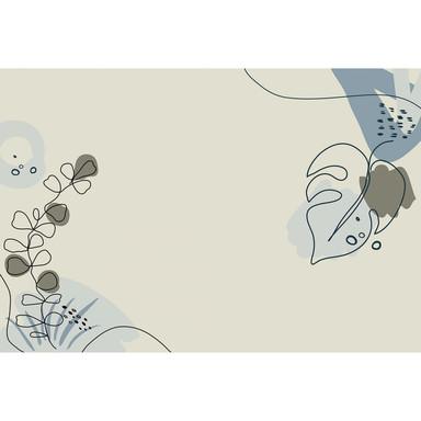 Livingwalls Fototapete ARTist Drawn Leaves mit gezeichneten Blättern blau, creme, grau - Bild 1