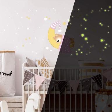 Wandsticker Bärchen, Mond und Sterne (rosa) + Leuchtsterne