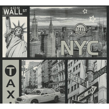 A.S. Création Tapete Boys and Girls Kinderzimmertapete New York City metallic, schwarz, weiss