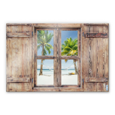 Glasbild 3D Holzfenster - Hammock in Paradise