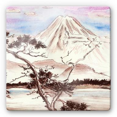 Glasbild Toetzke - Asian Landscape - quadratisch