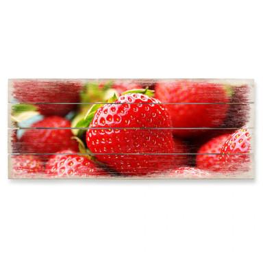 Holzbild Erdbeeren aus dem Garten - Panorama