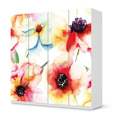 Klebefolie IKEA Pax Schrank 201cm Höhe - 4 Türen - Water Color Flowers- Bild 1