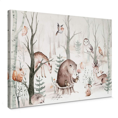 Leinwandbild Kvilis - Tierfreunde im Wald