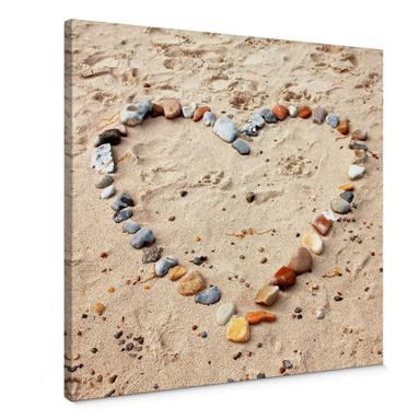 Leinwandbild Liebesstrand - quadratisch