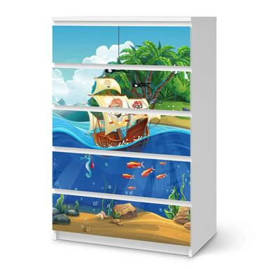 Möbel Klebefolie IKEA Malm Kommode 6 Schubladen (hoch) - Pirates