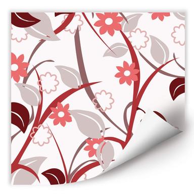 Wallprint Blumengarten rot