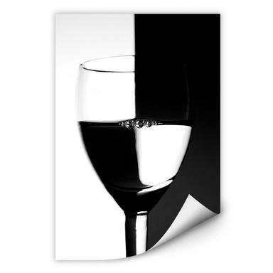 Wallprint Weinglas schwarz/weiss