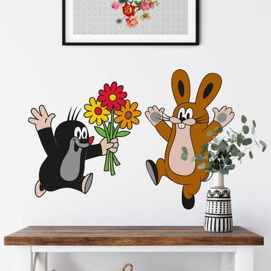 Wandsticker Maulwurf Blumenstrauss an Hase