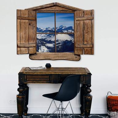 3D Wandtattoo Holzfenster - Alpenpanorama