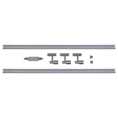 famlights | 1-Phasen Schienensystem-Set 2 Meter inkl. 3 Spots in Silber GU10