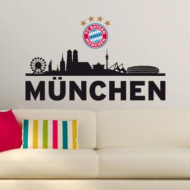 Wandtattoo FC Bayern Skyline - Mein Verein mit Logo farbig