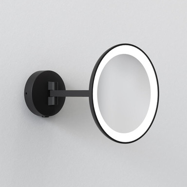 Badezimmer LED Kosmetik-Wandspiegel Mascali Round in Schwarz-matt