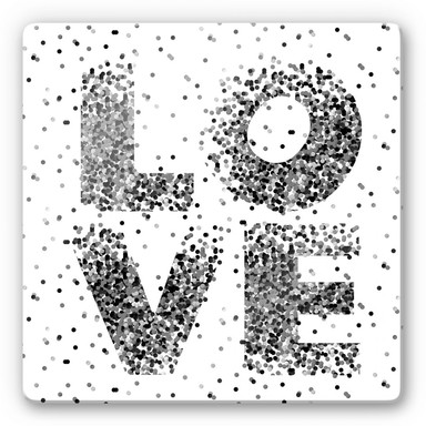 Glasbild Konfetti in Love - quadratisch