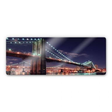 Glasbild Manhattan Bridge at Night 2 Panorama