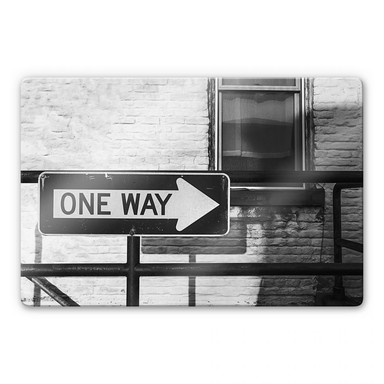 Glasbild Street Sign One way