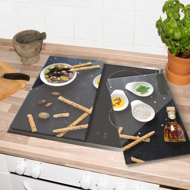 Herdabdeckplatte - Olives and Grissini