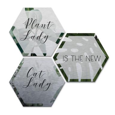 Hexagon - Alu-Dibond-Silbereffekt - Plantlady is the new Catlady (3er Set)
