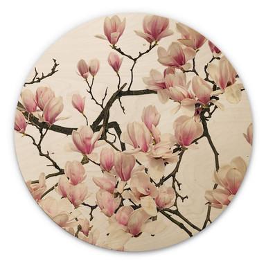 Holzbild Kadam - Flora Magnolia - Rund