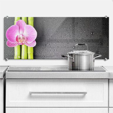 Küchenrückwand Orchid and Bamboo - Panorama (horizontal)