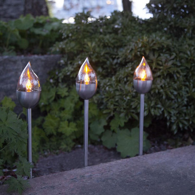 LED Solar Fackel Olympus in Silber 3-flammig IP44