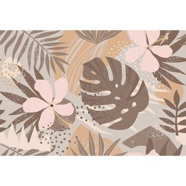 Livingwalls Fototapete ARTist Junglep Plants mit Palmenblättern beige, braun, rosa, taupe - Bild 1
