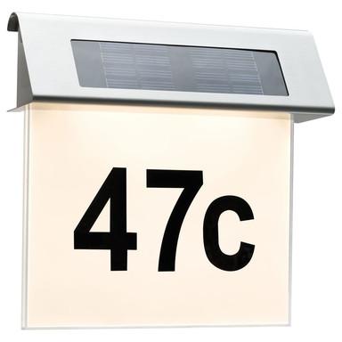 Outdoor Solar Hausnummernleuchte LED Edelstahl, Weiss, 1er Set IP44