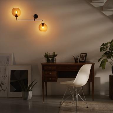 Wand- und Deckenleuchte Vintage in Grau E27 2-flammig