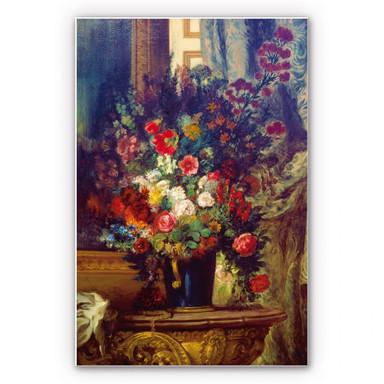 Wandbild Delacroix - Vase mit Blumen auf einer Konsole