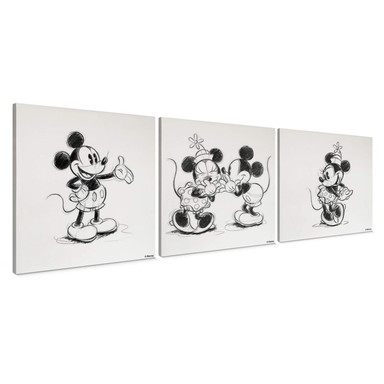 3-er Set Leinwandbild Mickey Minnie Sketch, tanzen - Bild 1