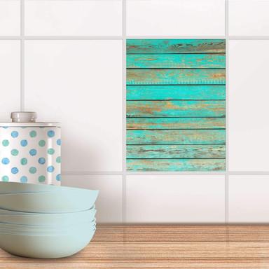 Fliesensticker - Wooden Aqua