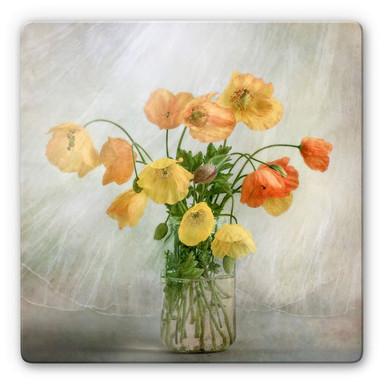 Glasbild Disher - Mohnblumen im Glas
