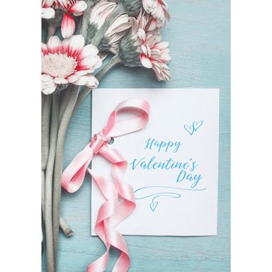 Gutschein Valentinstag - Blumen mit Karte