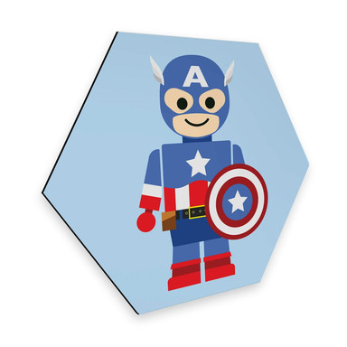 Hexagon - Alu-Dibond Gomes - Captain America Spielzeug
