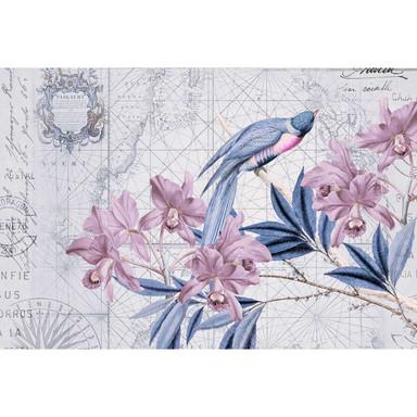 Livingwalls Fototapete ARTist Bird Discovery mit Blumen Vögeln und Weltkarte blau, rosa - Bild 1