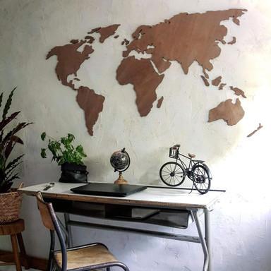 Holzdeko Mahagoni - Weltkarte
