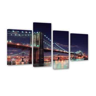 Leinwandbild Manhattan Bridge at Night 2 (4-teilig)