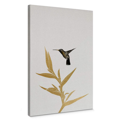 Leinwandbild Orara Studio - Hummingbird and Flower - goldene Pflanze