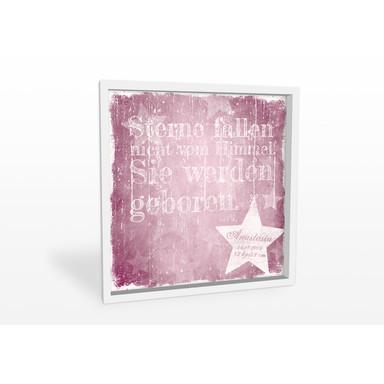 Wandbild Wunschtext & Name - Sterne fallen nicht vom Himmel (rosa)