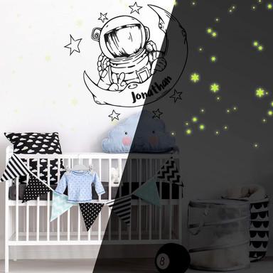 Wandtattoo & Name Astronaut & Leuchtsterne