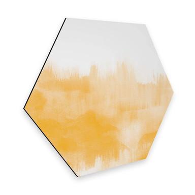 Hexagon - Alu-Dibond Nouveauprints - Watercolour Brush Strokes (gelb)