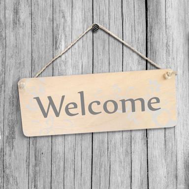 Holzschild Welcome mit Sisalseil