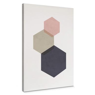 Leinwandbild Nouveauprints - Hexagons pink