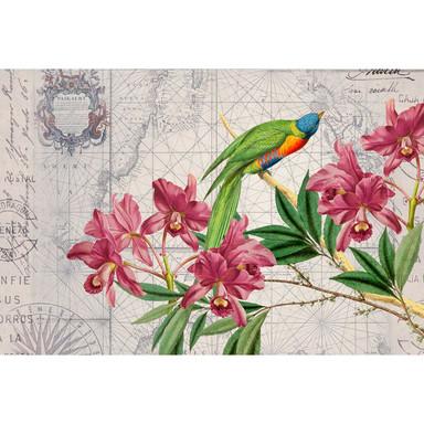 Livingwalls Fototapete ARTist Bird Discovery mit Blumen Vögeln und Weltkarte beige, gelb, grün, rosa - Bild 1