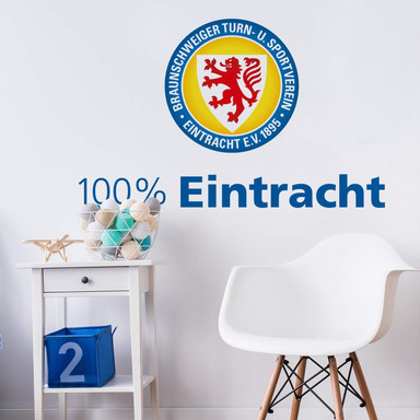 Wandsticker Eintracht Braunschweig 100 Prozent