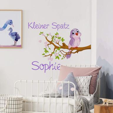 Wandtattoo + Name - Kleiner Spatz